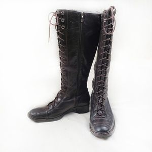 Rockport dark brown leather tall laced boots 8M